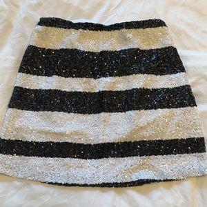 Sequin Striped Mini Skirt